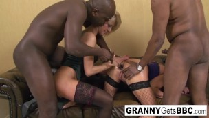 Mature blondes have interracial foursome